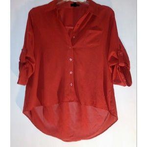 Mine rustic sheer hi-low blouse